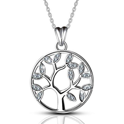 AEONSLOVE Collar Colgante Arbol de la Vida Plata de Ley 925 con Cristal Árbol de Familia Joyas para Mujer 46CM