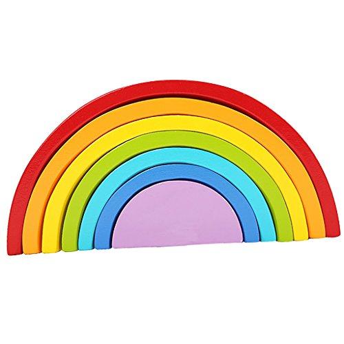 Juegos de Aprendizaje de Niños Puzzle Rompecabezas Forma de Arco Iris Madera