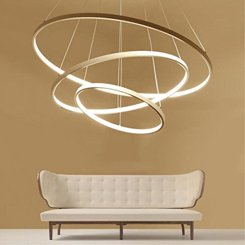 Modern Einfach LED Lights Restaurant lights Eye Schutz Aluminium Creative Concealed Light Quelle Bedroom Living Room Art Round Kerzenständer, warm light [Energy Class A + +], 40+60+80cm/120W