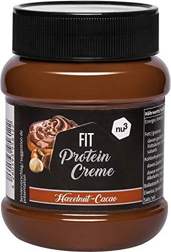 nu3 Fit Protein Creme - 400g Schokoladenaufstrich mit Haselnüssen, Kakao & Whey - ganze 21{c4cc105afc2410e47507e7d668f30856f564d72be4029dfb7751fda51a79f67a} Eiweiß - ohne Zusatz von Zucker - alternative zu Schoko-Creme aus dem Supermarkt - Glutenfrei & ohne Palmöl