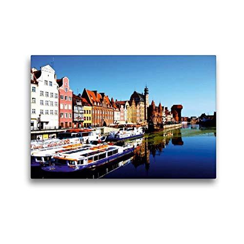 Calvendo Premium Textil-Leinwand 45 cm x 30 cm Quer Medieval Port Crane (polnisch: Zuraw Brama) ist Ein Stadttor aus Backstein und Holz | Wandbild, Bild auf Leinwand, Leinwanddruck Orte Orte (Port-polnisch)