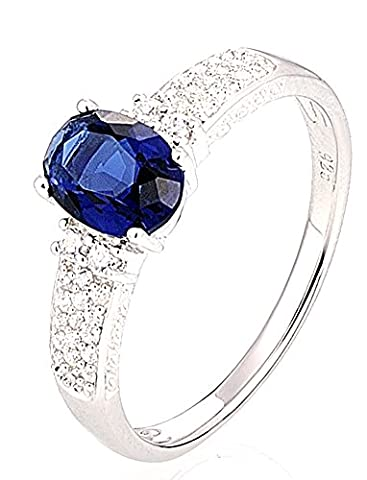 SaySure - Silver Rings Wedding Ring Oval Blue (SIZE : 8)
