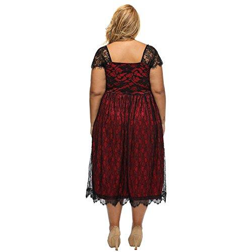 PU&PU Femmes Plus Size Casual / Sortir Dentelle Low Cut Waist Haute Robe Midi, manches courtes au-dessus du genou red