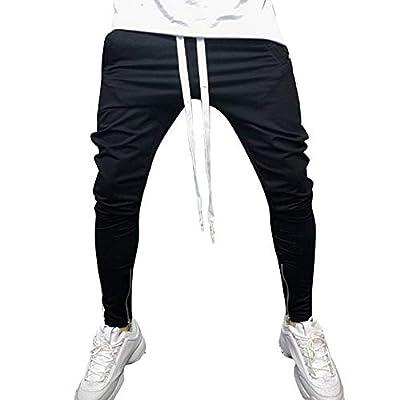 FIRSS Männer Skinny Hosen | Gestreift Jeanshosen | Reißverschluss Jogginghose | Tunnelzug Sweatpants | Ausgefranste Winterhose | Mode Elegante Llässig Pants