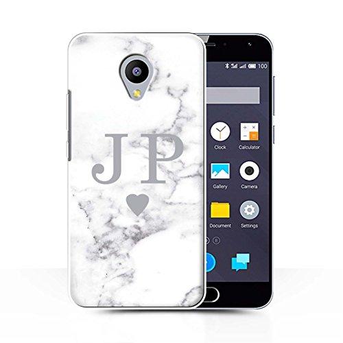 Stuff4® Personalisiert Weiß Marmor Mode Hülle für Meizu M2 Note/Solide Silber Herz Design/Initiale/Name/Text Schutzhülle/Case/Etui