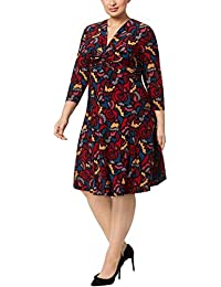 e95e1881cb Anne Klein Womens Plus 3 4 Sleeves Printed Wear to Work Dress