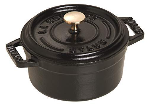 Staub 40500-101-0 Mini Cocotte, rund mit Deckel 10 cm, 0,25 L, induktionsgeeignet, mit mattschwarzer Emaillierung im Inneren des Topfes, schwarz - Keramik Kochgeschirr Emaillierte