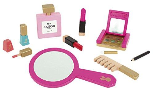 Preisvergleich Produktbild Janod Holzspielzeug - Schminkspiel Kulturbeutel Schmink Set - Spiegel Kamm 9teilig, Pink