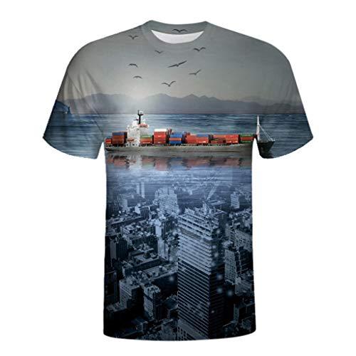 T-Shirts Herren Slim Fit,Covermason T-Shirts Herren Lustig Hawaiian Shirt, 3D Hawaiian Shirt Druck Fitness Elastisch Herren Kurzarm Tops Bluse S-XXL