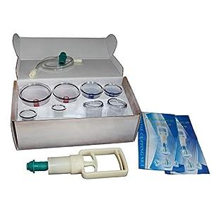 HQ Massage Schröpfen Set mit Schröpfgläsern aus Kunststoff mit Magneten + Vakuumpumpe (08G-Set)