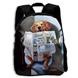 Zaino scuola, Funny Dog Watch Newspaper School Backpack Knapsack Cool Daypack Children Book Bag For Kids Boys Girls