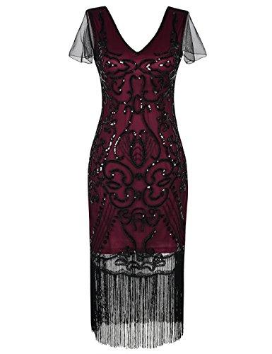 (PrettyGuide Damen 1920er Flapper Kleid Pailletten Great Gatsby Cocktailkleider S Burgund)
