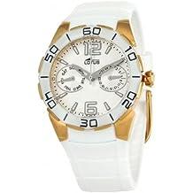 Reloj de señora multifunción caucho blanco caja dorada