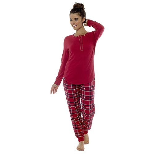 Reliable Ladies Henley Top With Checked Cuff Bottoms Pyjama Set By Foxbury Sleepwear & Robes Clothing, Shoes & Accessories