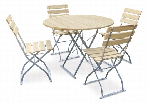 EuroLiving Bière de jardin 1 x table Ø90 cm & 4 x Chaise Edition/naturel Naturel/galvanisé