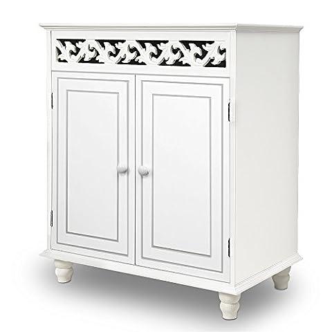 Commode en bois JERSEY blanche buffet blanc dressoir style intérieur séjour 76cmx65cmx35cm