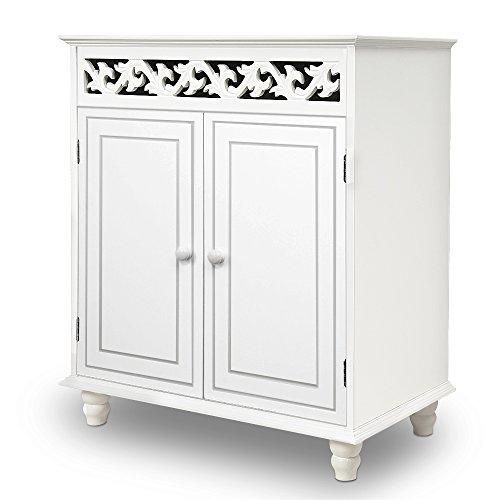 Kommode Jersey 2-türig weiß - Sideboard Schrank Anrichte Kleiderschrank Mehrzweckschrank Holz Nostalgie Antik