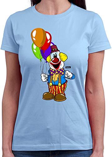 Rundhals Clown Luftballons Fröhlich Karneval Kostüm Inkl. Geschenk Karte Himmel Blau L ()