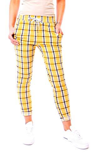 Easy Young Fashion Damen Joggpants Hose Lang Schotten-Karo One Size Gelb-Weiß-Schwarz