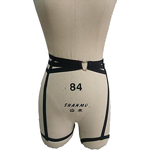 Giarrettiera, gotico, pentagramma, gomma, rivetti, bretelle di cuoio cintura con clip in metallo, 1 pezzo OS