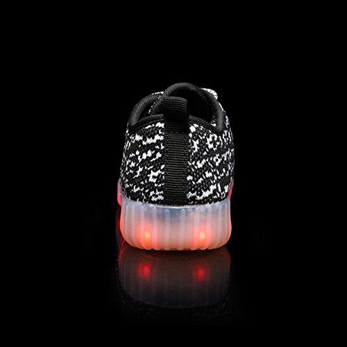FLARUT LED Schuhe Jungen Mädchen Kinder blinkt Schuhe USB Aufladung leuchten Turnschuhe bunte glühende Schuhe Schwarz