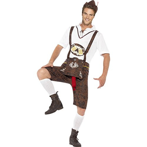 Lederhosen mit Bratwurst Lustiges Oktoberfest Kostüm XL 56/58 Sexy Trachtenkostüm mit heraushängender Wurst Bayrische Lederhose Witziges Bayern Herrenkostüm Trachtenhose Faschingskostüm Karneval Kostüme ()