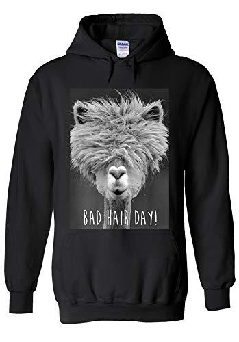 PatPat Store Bad Hair Day Lama Llama Funny Novelty Black Men Women Unisex Hooded Sweatshirt Hoodie-L -