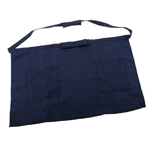 Shiwaki Kurze Taille Bogen Tasche Schürze Für Bar Cafe Pub Kellner Kellnerin Barista Pick - Blau - Falte Bogen