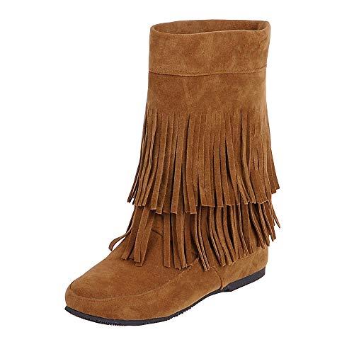 QINGMM Frauen Wildleder Fransen Stiefel 2018 Herbst Flache Mode Booties,Braun,36 EU (Fransen Bootie Wildleder)
