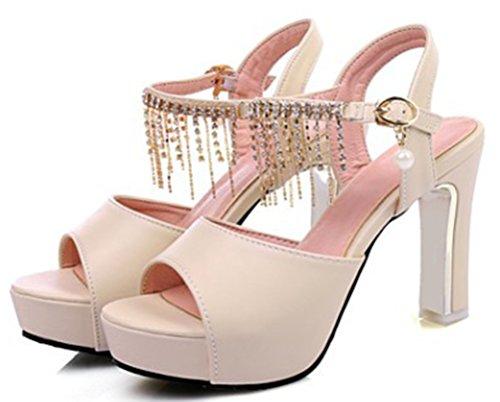 Aisun Damen Fashion Peep Toe Metall Chains Quaste Künstliche Perlen Plateau Sandalen Aprikosen