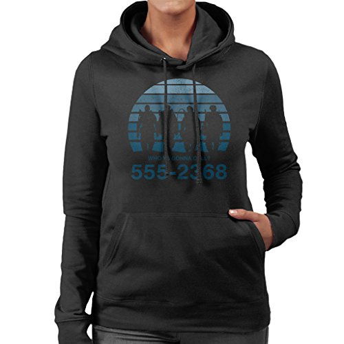 Who Ya Gonna Call Sunset Ghostbusters Women's Hooded Sweatshirt Black