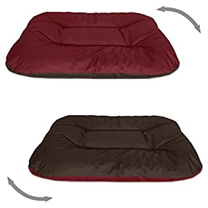 BedDog 2in1 Hundebett REX, XL, rot-braun, Wende-Hunde-Kissen oval-rund, großes Hundekörbchen, waschbares Hundebett, Hundesofa für drinnen, draußen