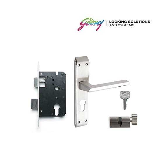 Godrej NEH 07 1CK 20cm Satin Steel Door handle with lock set and cylinder (product code-6757)