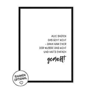 Geht nicht? Doch! - Kunstdruck auf wunderbarem Hahnemühle Papier DIN A4 -ohne Rahmen- schwarz-weißes Bild Poster zur Deko im Büro/Wohnung/als Geschenk Mitbringsel zum Geburtstag etc.