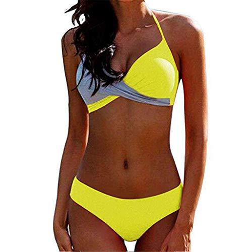 CheChury Bikinis Mujer 2020 Push Up Halter Bikini Traje de baño Acolchado Bra Tops y Braguitas Bikini...
