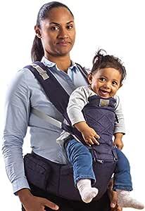 Flok - Babytrage Ergonomische für Neugeborene 0 36 Monate mit abnehmbarem Sitz und abnehmbarer Kapuze. Evolutionär, verstellbar und atmungsaktiv. Multiposition, Front, Back und Street Front (Blu)