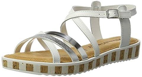 Tamaris Damen 28224 Offene Sandalen mit Keilabsatz, Weiß (White/Silver 191),