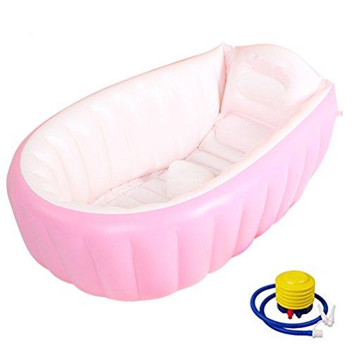 Swesy vasca da bagno gonfiabile - vasca da bagno d'aria con pompa gonfiabile antiscivolo con cuscino morbido per (0-3 anni) neonato infantile - pieghevole e portatile adatto per piscina e viaggi (rosa)