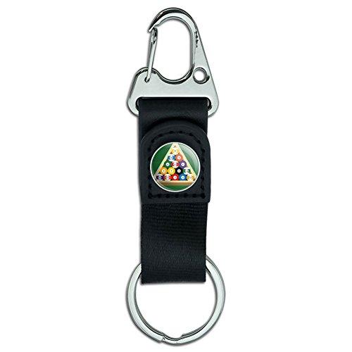 Gürtel Clip auf Karabiner Leder Stoff Schlüsselanhänger Key Ring Sport und Hobby Billiard Balls and Triangle Pool Table