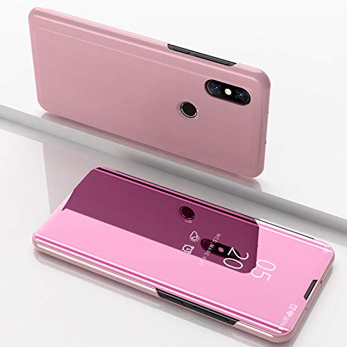 Custodia® Espejo Chapado Transparente View Stand Función Flip Funda para Xiaomi Mi Mix 3 (Oro Rosa)