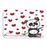 Outside Shoe Non-slip Color Dot Doormat artist panda cute brush drawing hearts Positive Mats Entrance Rugs carpet 16 * 24 inch