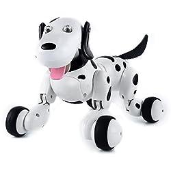 Perro Elegante SainSmart Jr. Eléctrico RC, Inalámbrico Interactivo Del Perrito, Juguete De Los Niños Que Bailan Mascota Robot, Negro