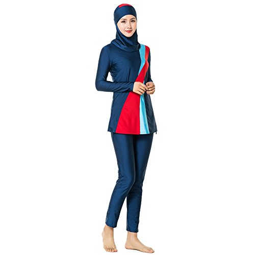 Hougood Damen Muslim Bademode Voller Länge Schwimmen Kostüme Three Piece Badeanzüge Frauen Swimwear Swimsuits Islamische Sonnenschutz Bademode Sets Badeanzüge Top + Pants + ()