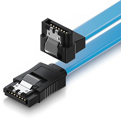deleyCON 50cm SATA III Kabel S-ATA 3 Datenkabel Verbindungskabel Anschlusskabel für HDD SSD mit Metall-Clip - 6 GBit/s - 1x Gerade 1x 90° L-Type Stecker - Blau