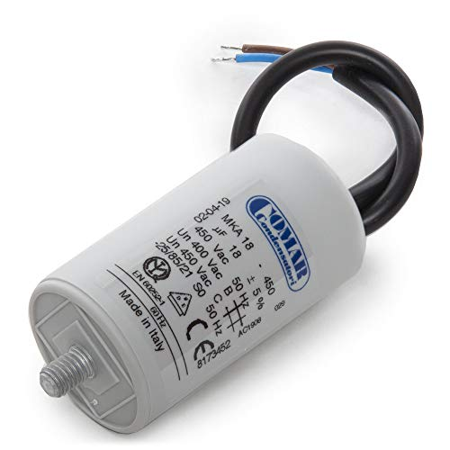 Greenice | Kondensator Motor 18µF 250-450VKabel 250mm Schraube M8 40x70mm -