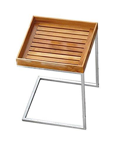 Jan Kurtz Pizzo Teak Beistelltisch mit Stahlgestell und Tablett Teak, In - und Outdoor -