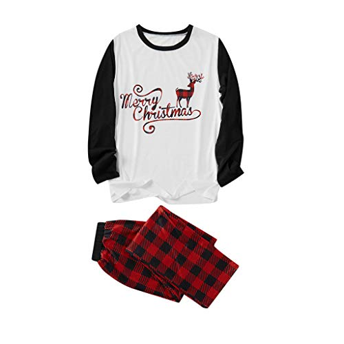 Aploa Pyjama Weihnachten gedruckt Brief Top + Gitter Hosen Weihnachten Familie Kleidung Pyjamas, Mutter/Vater/Kind Weihnachtselch Kostüm Set Nachtwäsche Langarm Karierte Homewear(Weiß (Rabatt Pet Kostüm)