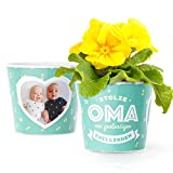 Facepot Stolze Oma von Zwillingen - Blumentopf (ø16cm) Für Zwillinge Geschenk zur Geburt oder Weihnachten mit Bilderrahmen für Zwei Fotos (10x15cm)