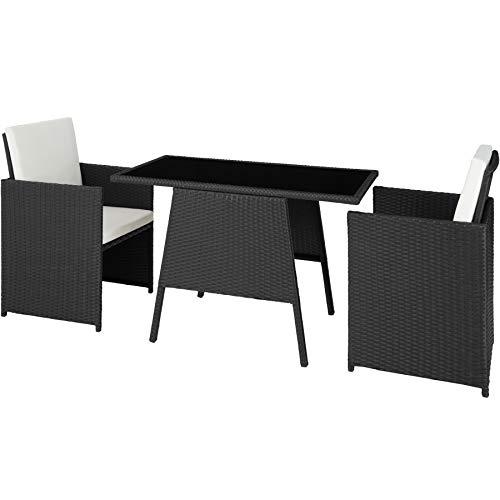 TecTake 800682 Polyrattan Sitzgruppe für 2 Personen, zusammenschiebbar, 2 Stühle & 1 Tisch mit Glasplatte, inkl. Sitz- und Rückenkissen - Diverse Farben - (Schwarz | Nr. 403096) -