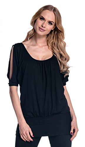 Glamour Empire Femme T-shirt top tunique à manches chauves-souris fendues. 221 Noir